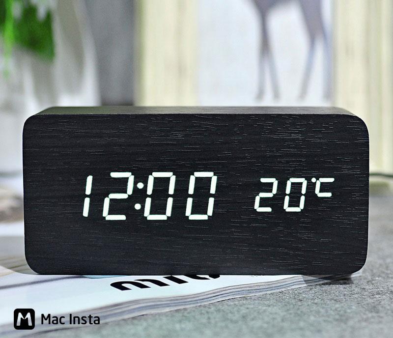 Đồng hồ bàn LED chất liệu gỗ